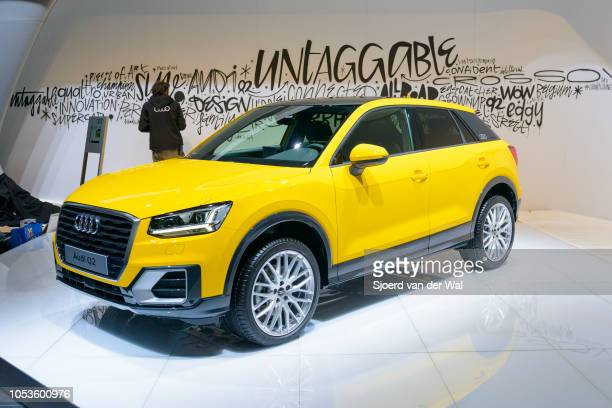 Audi Q2 compact crossover SUV front view on display at Brussels Expo on January 13, 2017 in Brussels, Belgium. The Audi Q2 is the smallest of the...