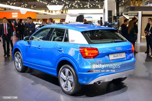 Audi Q2 compact crossover SUV rear view on display at Brussels Expo on January 13, 2017 in Brussels, Belgium. The Audi Q2 is the smallest of the Audi...