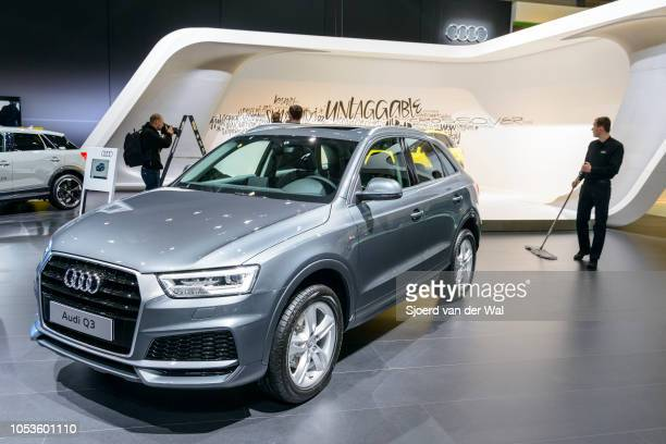 Audi Q3 compact luxury SUV car rear view on display at Brussels Expo on January 13, 2017 in Brussels, Belgium. The second smalles Q audi SUV Q3 is...