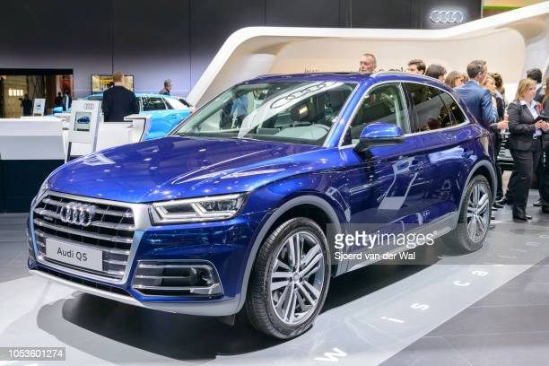Audi Q5 luxury SUV car front view on display at Brussels Expo on January 13, 2017 in Brussels, Belgium. The second generation Q5 sits in the middle...