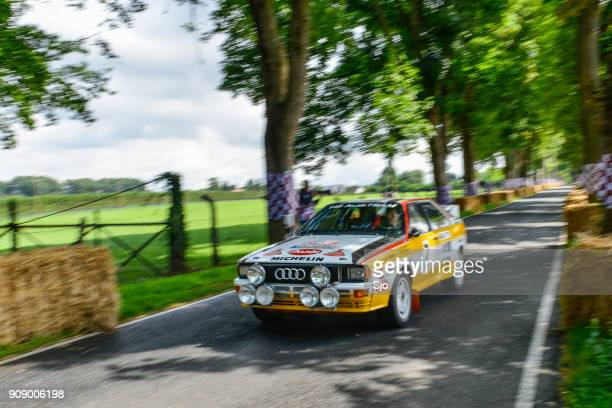 audi quattro classic coupe rally car - rally car stock photos and pictures