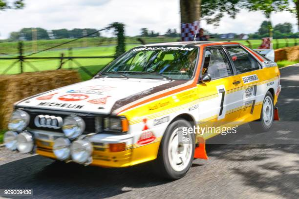 audi quattro classic coupe rally car - audi car stock photos and pictures