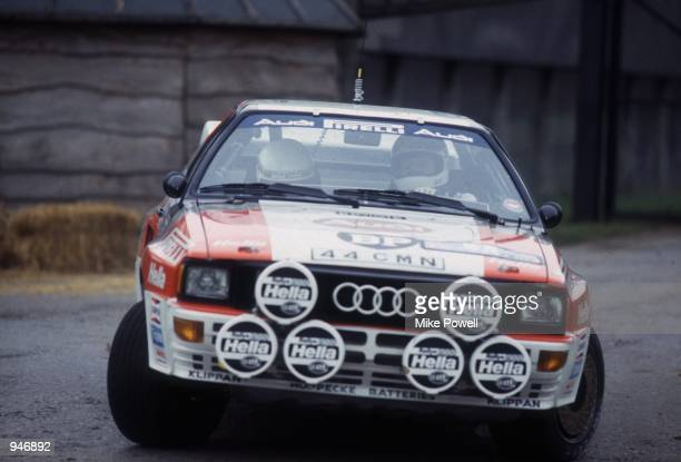 Audi Quattro driver Stig Blomqvist in action with codriver Bjorn Cederberg during the Longleat Stage of the RAC Rally in England Mandatory Credit...