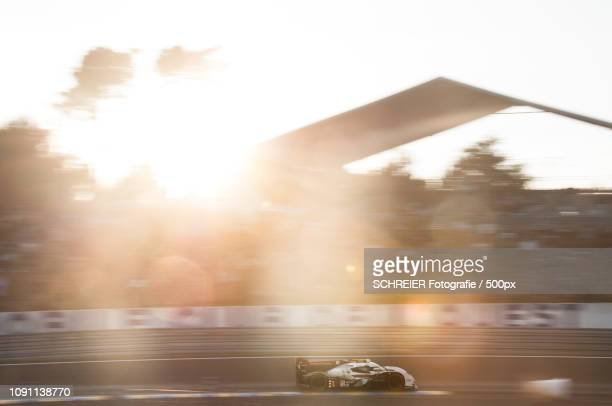 Audi R18 with Tom Kristensen at sunset - Le Mans 2014