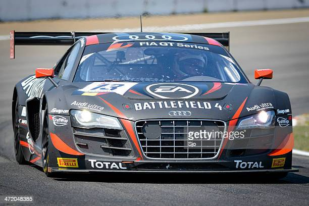 audi r8 lms race car at the racing track - fia gt championship stock pictures, royalty-free photos & images