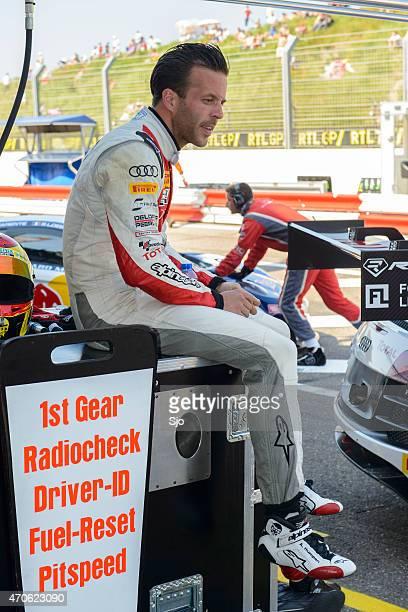 Audi racing driver Anthnoy Kumpen preparing for the race