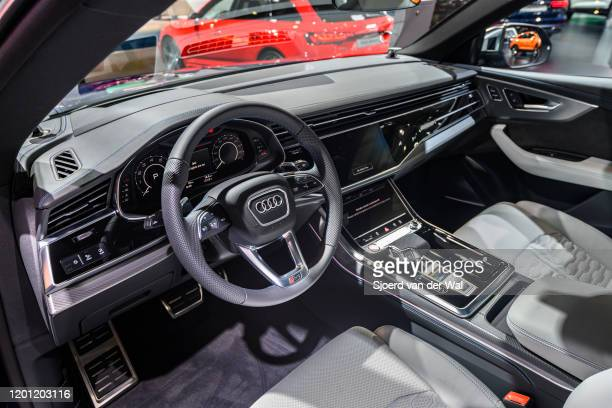 Audi RS Q8 luxury crossover performance SUV on display at Brussels Expo on January 9 2020 in Brussels Belgium The RS Q8 is fitted with a 40 litre...