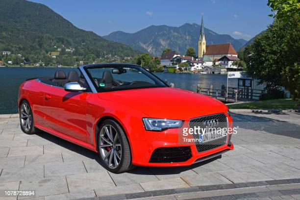 audi rs5 cabrio on the street - audi stock pictures, royalty-free photos & images