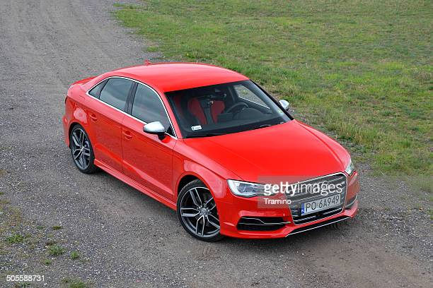audi s3 limousine at the gravel road - audi stock pictures, royalty-free photos & images