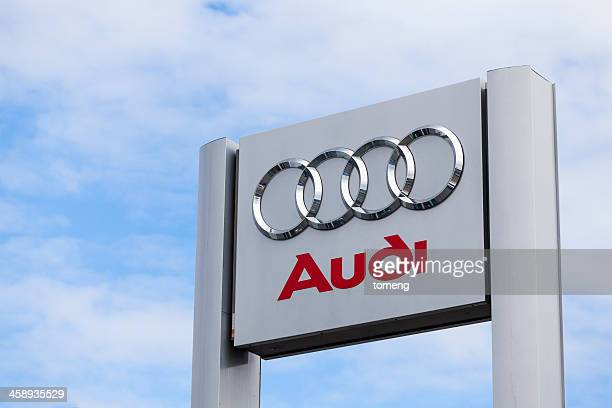 audi sign at car dealership - audi stock pictures, royalty-free photos & images