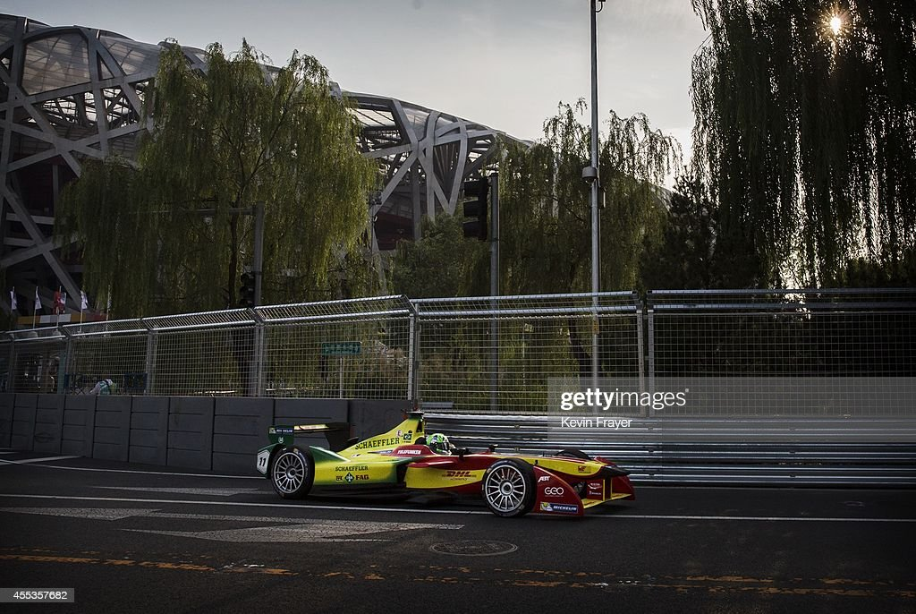 Audi Sport ABT driver Lucas di Grassi of Brazil drives on his way to winning the inaugral FIA Formula E Beijing ePrix Championship race on September 13, 2014 in Beijing, China. The electric car racing series is set to be hosted in nine other cities worldwide.