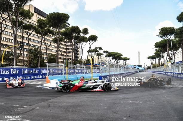 Audi Sport Team ABT's Brazilian driver Lucas Di Grassi steers his car during qualifications ahead of the Rome EPrix leg of the Formula E season...