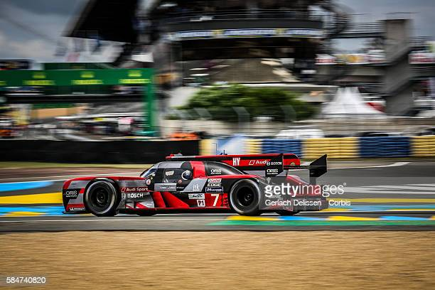 Audi Sport Team Joest #7 Audi R18 Hybrid with Drivers Marcel Fassler Andre Lotterer and Benoit Treluyer during the 84th running of the Le Mans 24...