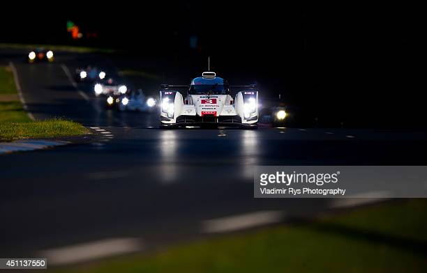 Audi Sport Team Joest of Filipe Albuquerque Marco Bonanomi and Oliver Jarvis in action during the Le Mans 24 Hour Race at Circuit de la Sarthe on...