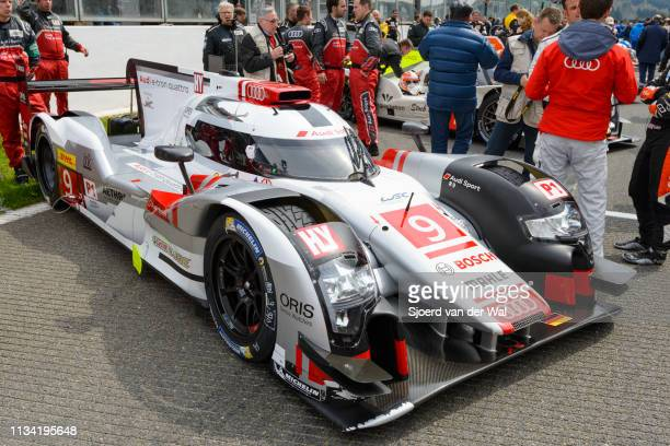 Audi Sport Team Joest R18 e-tron quattro Le Mans Prototype race car at the start grid during the 6 Hours of Spa-Francorchamps race, the second round...