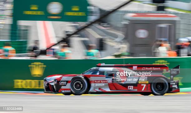 Audi Sport Team Joest R18 e-tron quattro Le Mans Prototype race car driven by Mike Conway, Kamui Kobayashi / Jose Maria Lopez driving on track during...