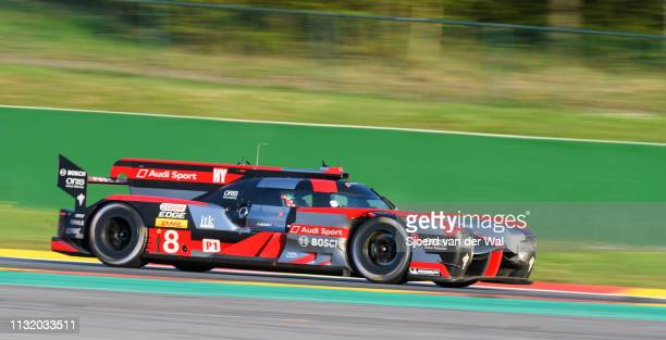 Audi Sport Team Joest R18 e-tron quattro Le Mans Prototype race car driven by Lucas di Grassi, Loïc Duval and Oliver Jarvis driving on track during...