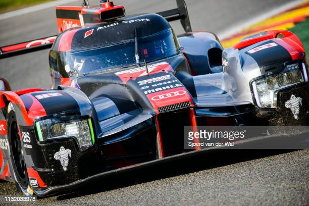 Audi Sport Team Joest R18 etron quattro Le Mans Prototype race car driven by Mike Conway Kamui Kobayashi / Jose Maria Lopez driving on track during...