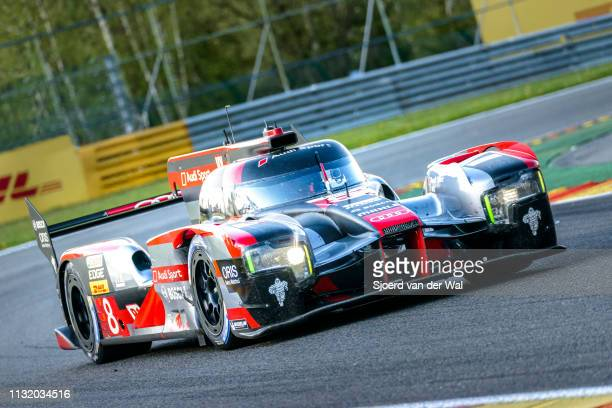Audi Sport Team Joest R18 etron quattro Le Mans Prototype race car driven by Lucas di Grassi Loïc Duval and Oliver Jarvis driving on track during the...