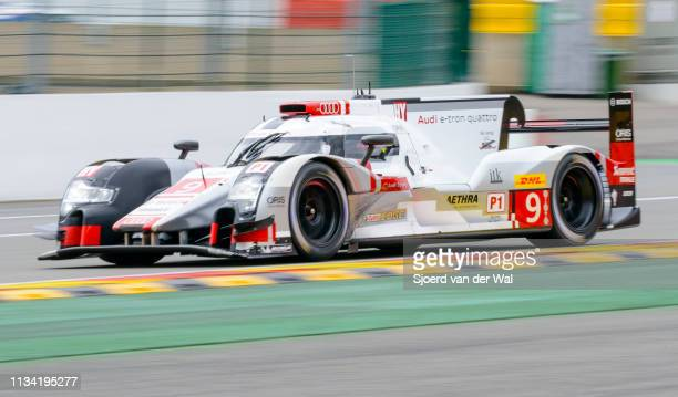 Audi Sport Team Joest R18 etron quattro Le Mans Prototype race car driven by ALBUQUERQUE F BONANOMI M RAST R driving on track during the 6 Hours of...
