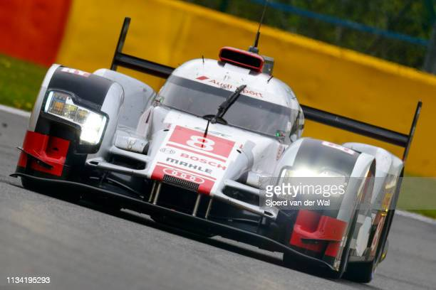 Audi Sport Team Joest R18 etron quattro Le Mans Prototype race car driven by DI GRASSI L DUVAL L JARVIS O driving on track during the 6 Hours of...