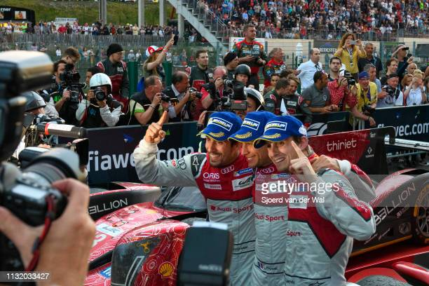 Audi Sport Team Joest racing drivers Lucas di Grassi Loïc Duval and Oliver Jarvis posing for photographers after winning the 2016 Six Hours of Spa...