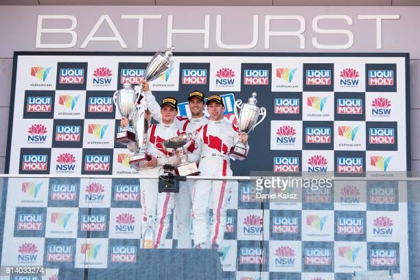Audi Sport Team WRT Audi R8 LMS of Robin Frijns Stuart Leonard Dries Vanthoor celebrate on the podium during the 2018 Bathurst 12 Hour Race at Mount...