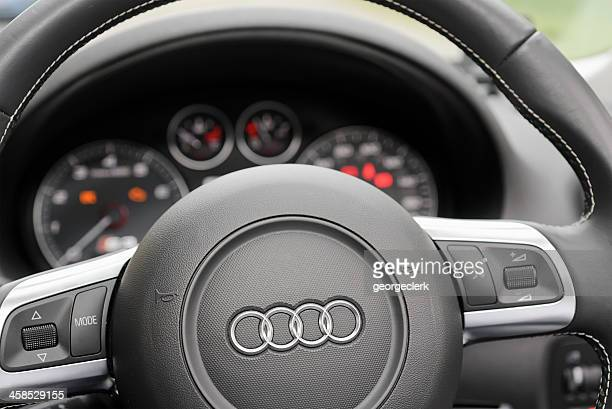 audi steering wheel and dashboard - audi stock pictures, royalty-free photos & images