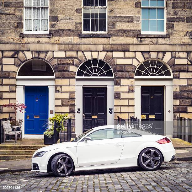 audi tt parked in edinburgh's new town - new town edinburgh stock photos and pictures