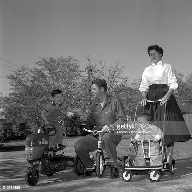 Audie Murphy and his wife Pamela Archer with sons Terry and James pose in PerrisCA