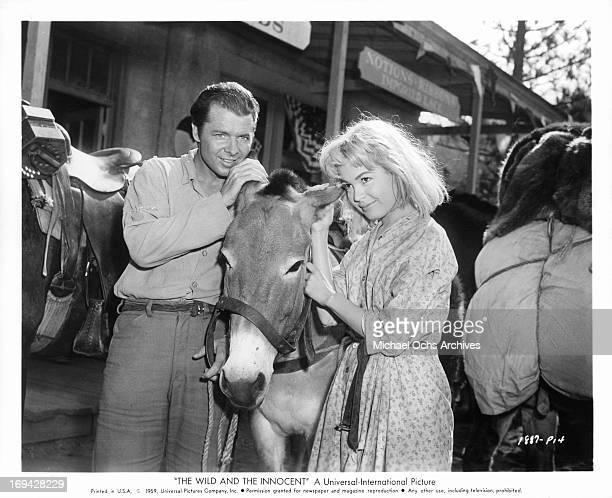 Audie Murphy and Joanne Dru posing with Francis the talking mule in between scenes from the film 'The Wild And The Innocent' 1959