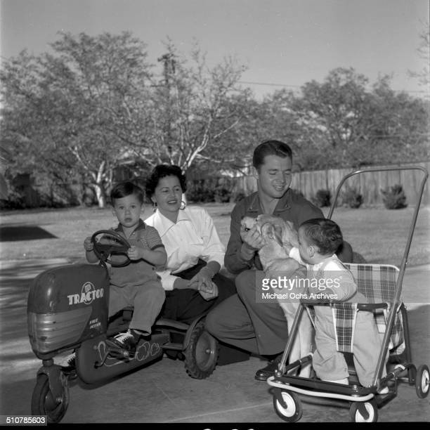 Audie Murphy poses wife Pamela Archer and sons Terry and James in Perris,CA.