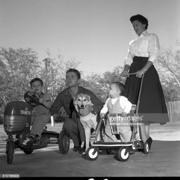 Audie Murphy poses wife Pamela Archer and sons Terry and James in PerrisCA