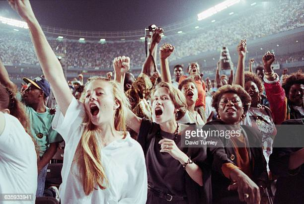 Audience at a Nelson Mandela Benefit Concert in Yankee Stadium
