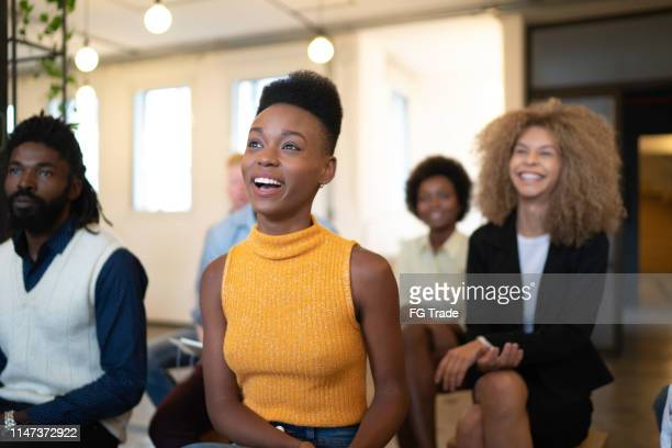 audience at business convention and presentation / interview / launch event - press conference stock pictures, royalty-free photos & images