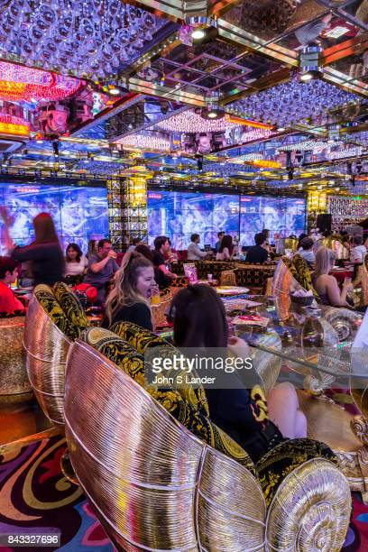 Audience at Robot Restaurant in Kabukicho Shinjuku where robotic women and demons stage mock battles in this steroid heavy attraction with neon...