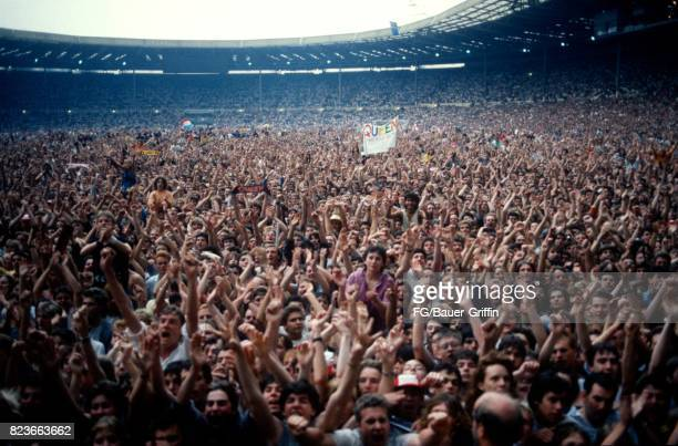 Audience at the Queen concert at Wembley stadium during the Magic tour on July 11 1986 in London United Kingdom 170612F1