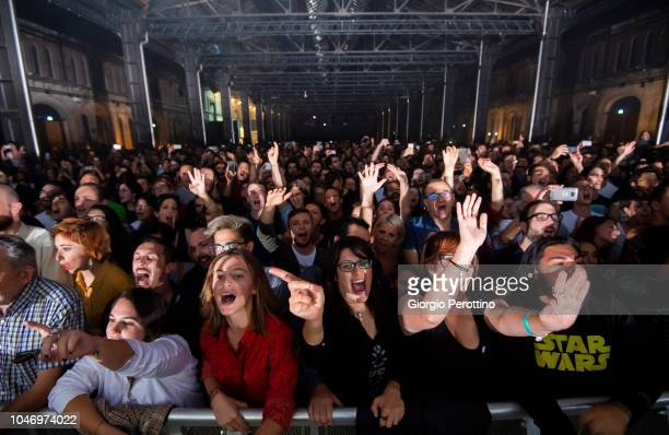 Audience attend the live performance of Italian band Baustelle during the event called 'La fine dell'Amore la fine della violenza Amen @OGR' on...