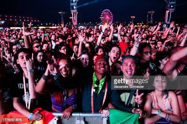Audience during Os Paralamas do Sucesso concert during Rock in Rio 2019 - Day 7 at Cidade do Rock on October 06, 2019 in Rio de Janeiro, Brazil.