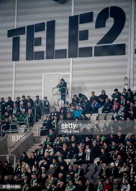 STOCKHOLM SWEDEN NOVEMBER Audience during the Allsvenskan match between Hammarby IF and Halmstad BK at Tele2 Arena on November 5 2017 in Stockholm...