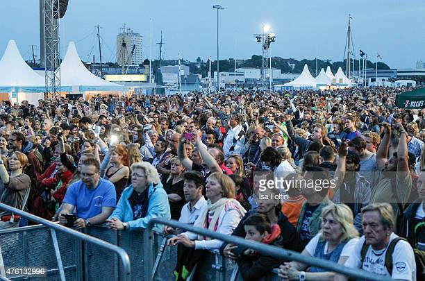 Audience during the naming ceremony of the cruise ship 'Mein Schiff 4' on June 5 2015 in Kiel Germany