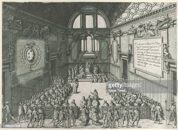 Audience given by Pope Pius V to Cosimo I, Duke of Tuscany, Giovanni Ambrogio Brambilla , Pope Pius V , Cosimo I de' Medici, Grand Duke of Tuscany ,...