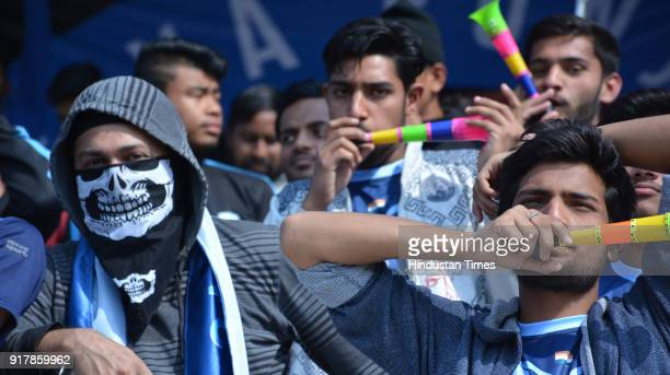 Audience in jubilant mood during Minerva Punjab FC and East Bengal in white Football match at Tau Devi Lal Stadium on February 13 2018 in Panchkula...