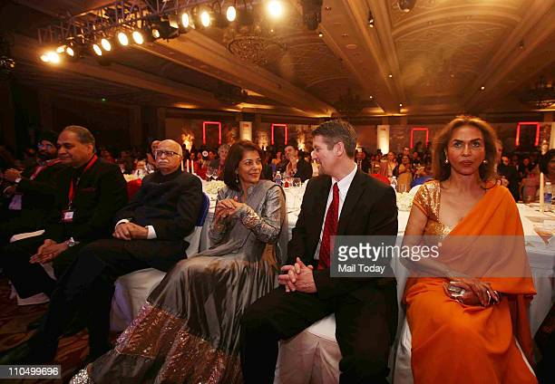 Audience including BJP Leader LK Advani MP and industrialist Rahul Bajaj Rekha Purie and Parmeshwar Godrej listening to American Politician Sarah...