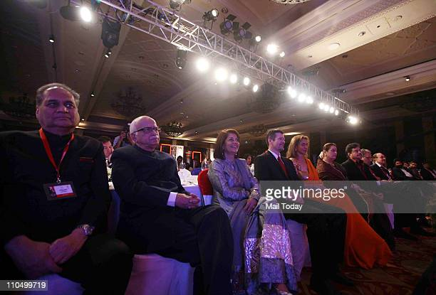 Audience including BJP Leader LK Advani MP and industrialist Rahul Bajaj and Rekha Purie listening to American Politician Sarah Palin delivering...