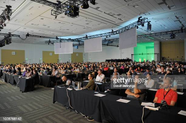 Audience is seen during Day 3 of TechCrunch Disrupt SF 2018 at Moscone Center on September 7 2018 in San Francisco California