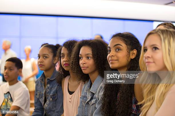 Audience listening to stars of Baber Shop 3 The Next Cut at the Microsoft Store on April 5 2016 in Los Angeles California