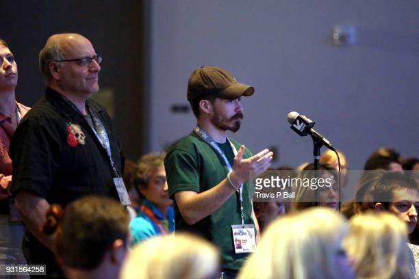 Audience member asks a question during SXSW at Austin Convention Center on March 13 2018 in Austin Texas