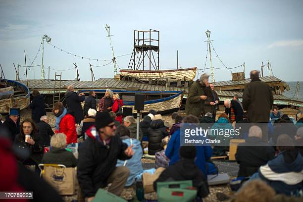 Audience members arrive for the first performance of 'Grimes on the Beach' a production of Benjamin Britten's opera Peter Grimes at the Aldeburgh...