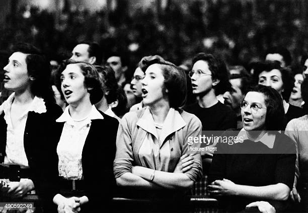 Audience members at the Royal Albert Hall in London during the Last Night of the Proms September 1952 Original Publication Picture Post 6059 Albert...